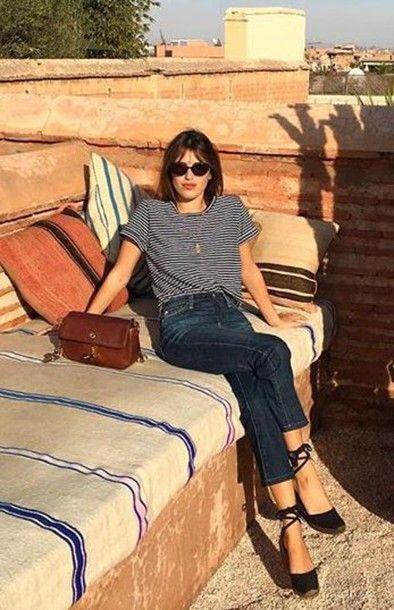 top, jeanne damas, fashionista, striped top, sunglasses, black sunglasses, denim… – Spring Outfit
