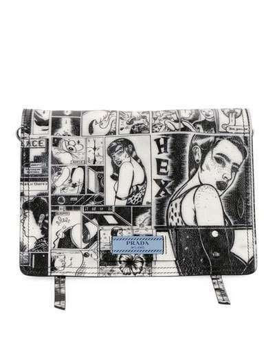 acacfd56190e83 V3RQG Prada Prada Comic-Print Etiquette Shoulder Bag   Purses and ...