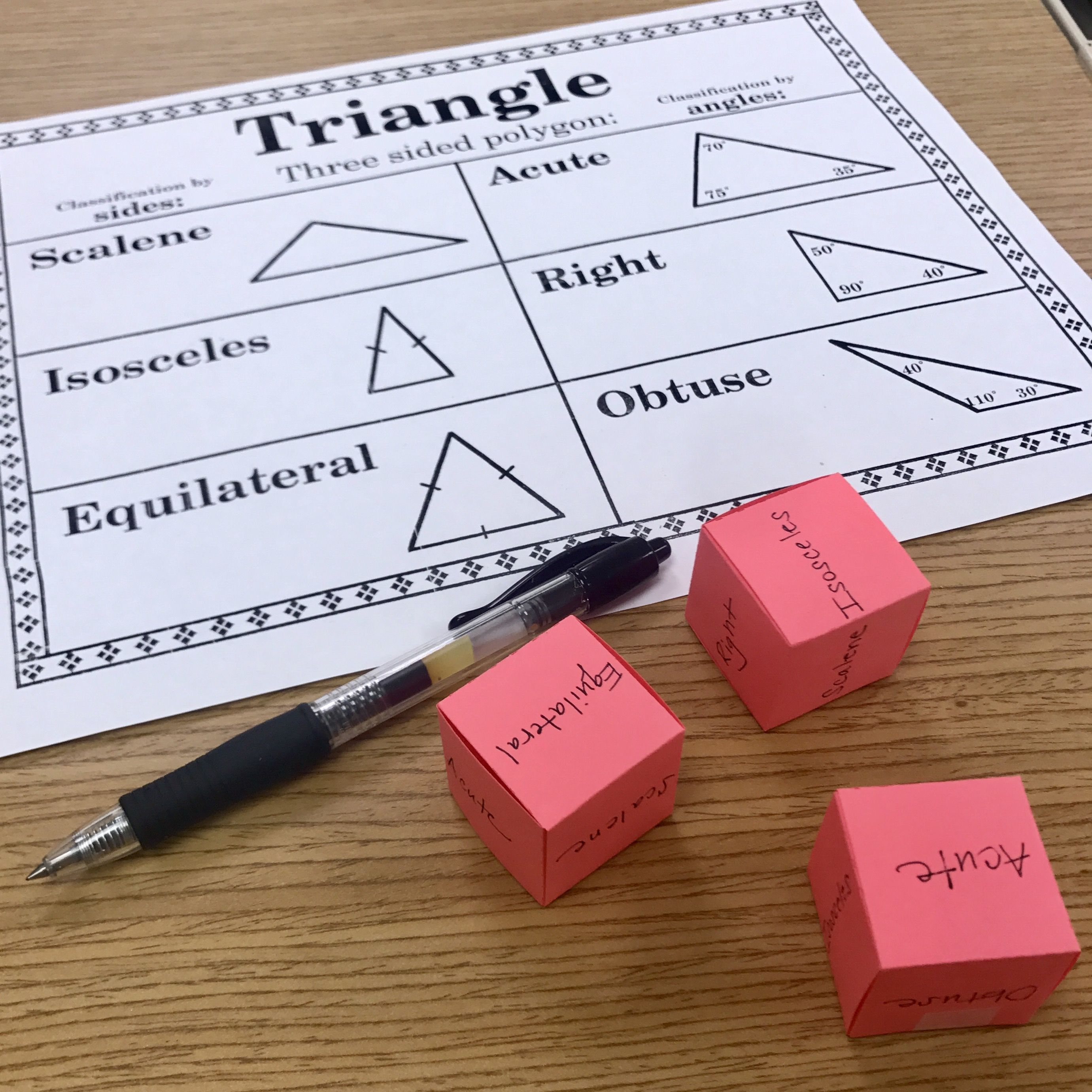Triangle Classification Vocabulary Classifying Triangle By