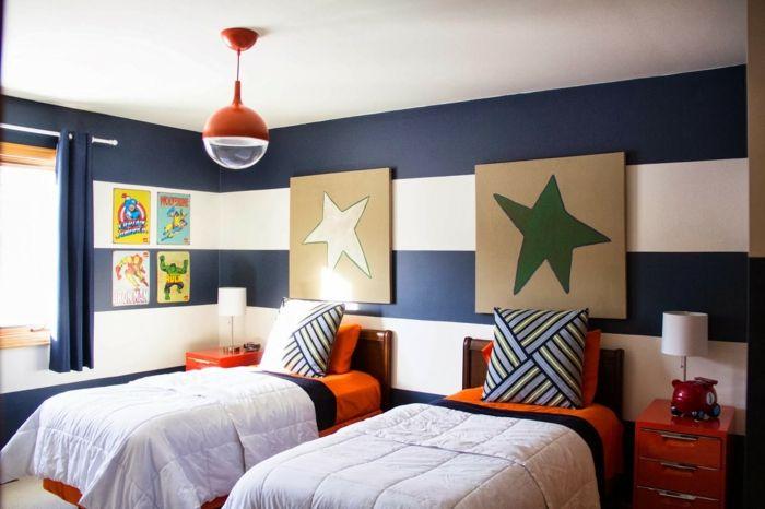 wandfarben streifen, gestaltung mit 2 wandfarben – streifen fürs kinderzimmer, Design ideen