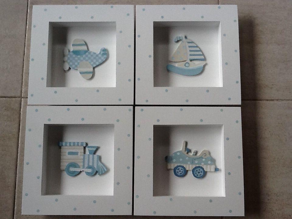 Cuadritos varon mis trabajos decoracion cuarto bebe for Decoracion para bebe varon