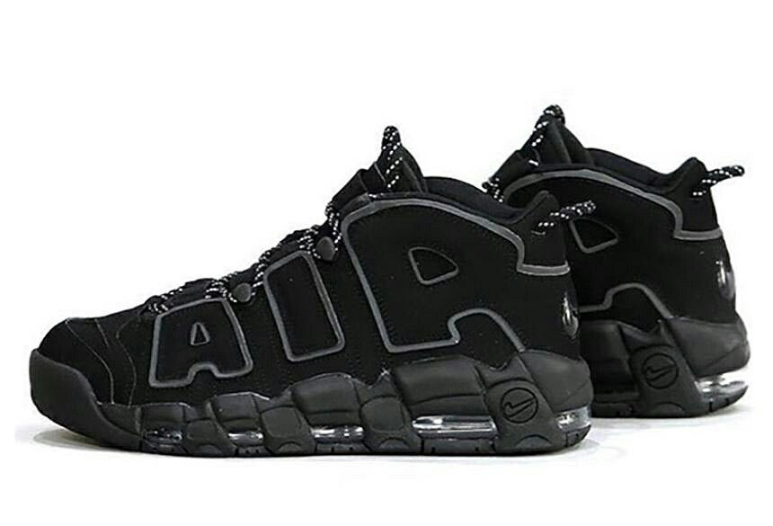 buy popular c7521 c69c8 volleyball shoes nike basketball shoes  nike air more uptempo triple black  ของแท้มือ 1 รับประกันขอ