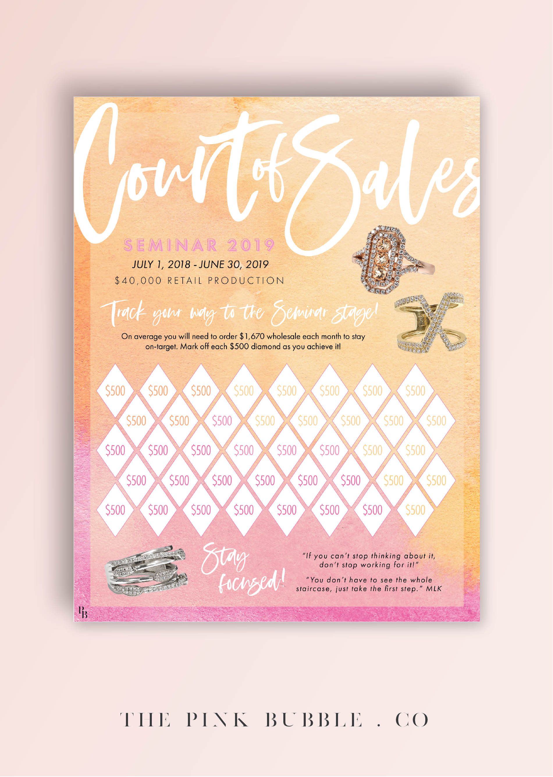 mary kay court of sales 2019 tracking sheet track your way to the