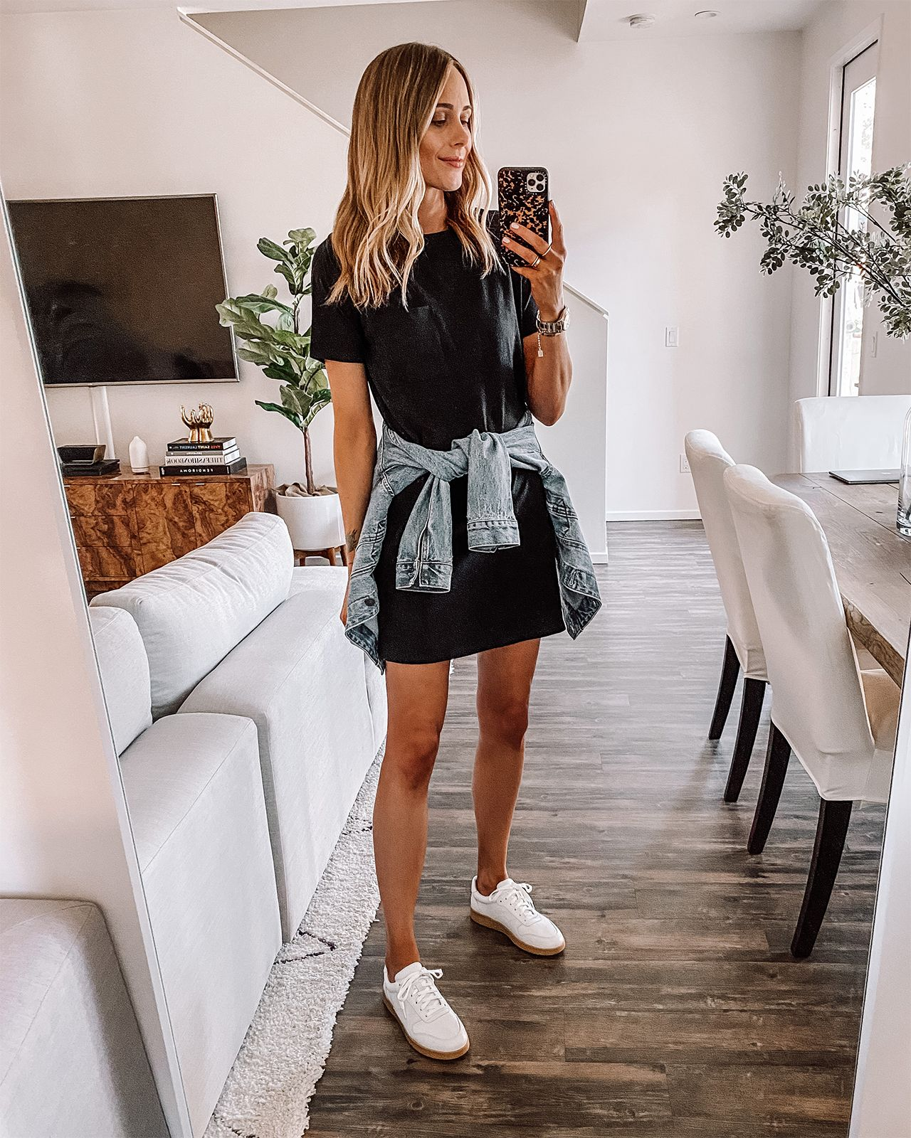 Fashion Jackson Wearing Everlane Black Tshirt Dress Everlane White Sneakers Denim Jacket Black Tshirt Dress Tshirt Dress Outfit Summer Dress Outfits
