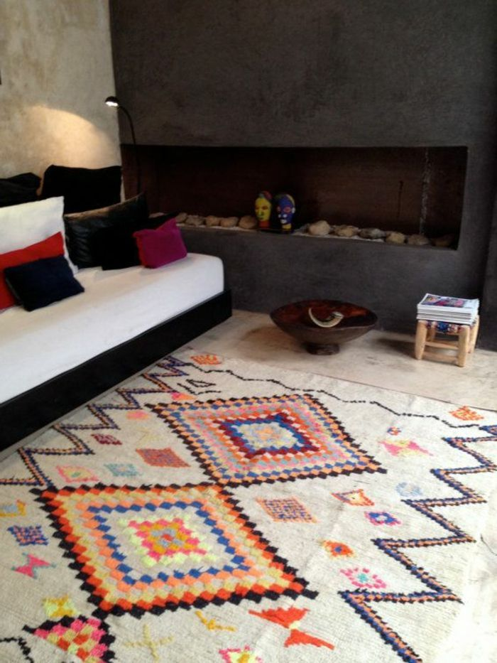 Deco Salon Tapis Berbere Kilim Pas Cher Colore Pour Le Salon