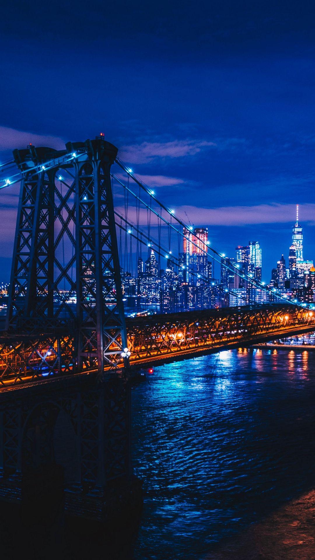 New York Night City Bridge Iphone 8 Wallpaper New York Wallpaper Night City New York Iphone Wallpaper