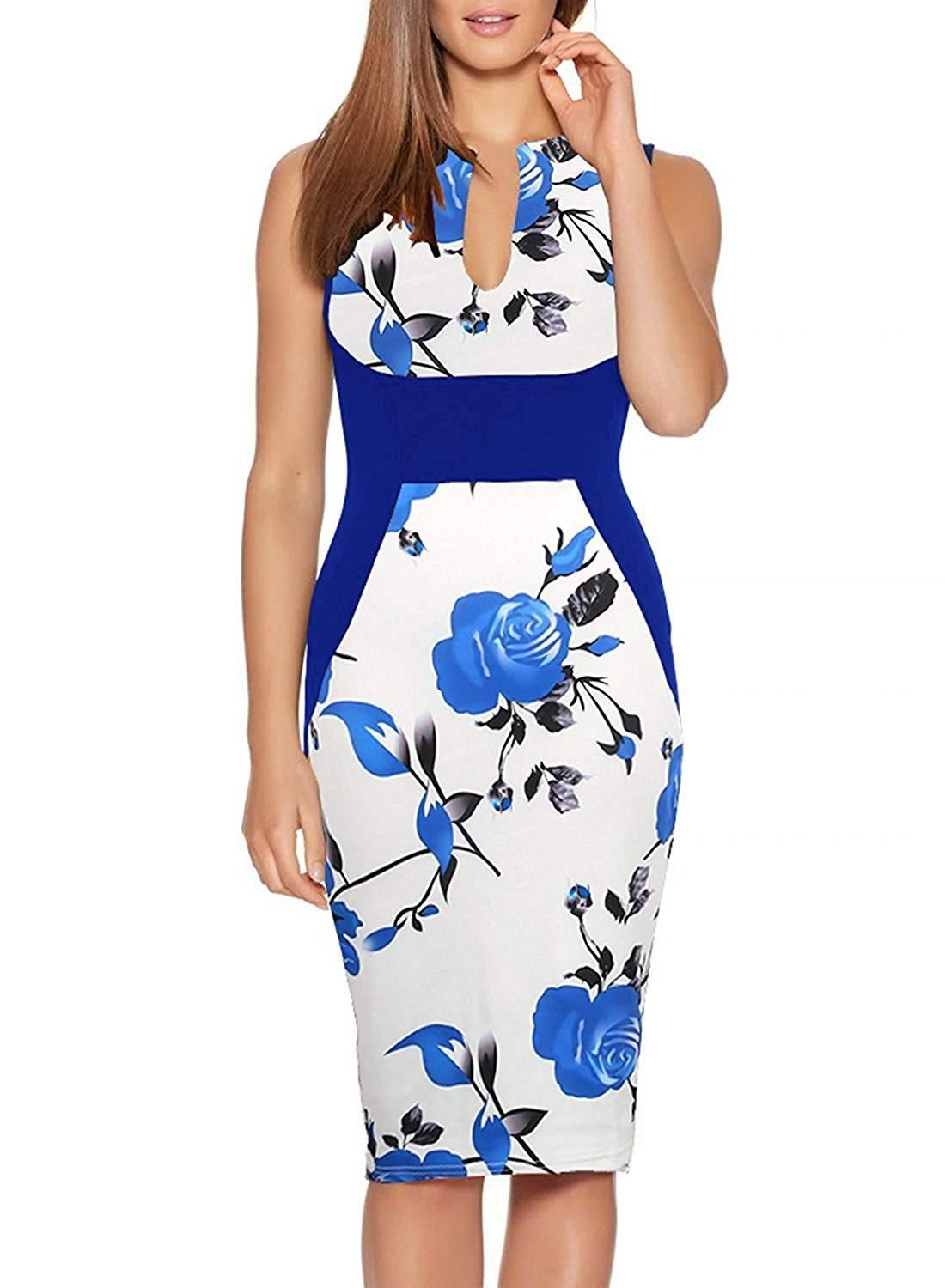8ef3b2ed39a Haogo Womens V Neck Sleeveless Floral Print Bodycon Cocktail Party Pencil  Dress