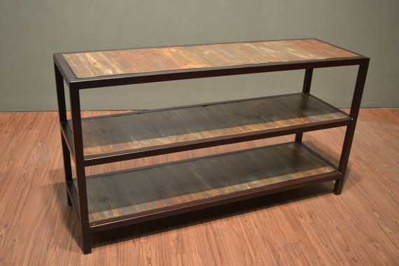 Industrial Wood And Metal Three Shelf Console Table Rustic Style