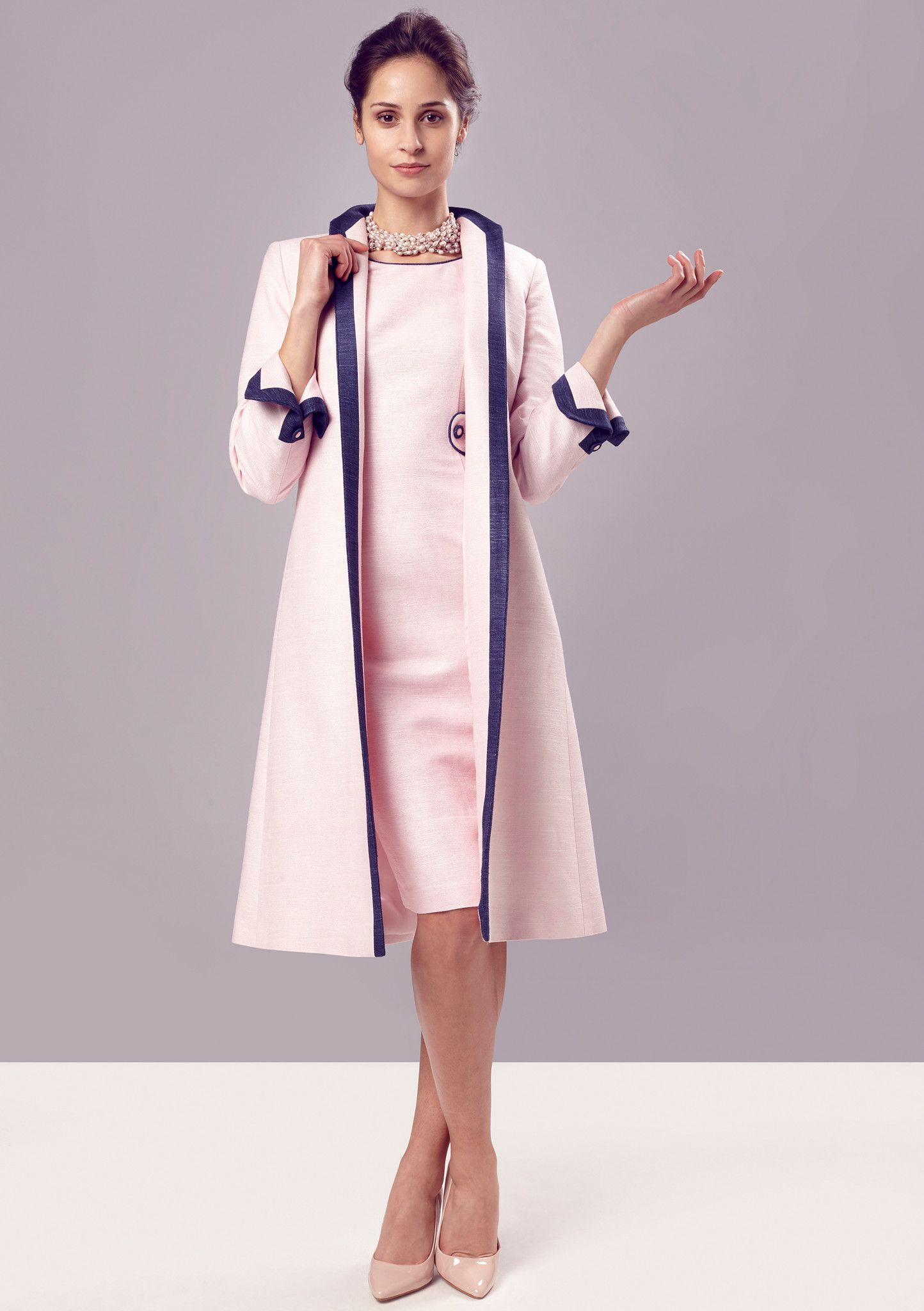 Dress Coat in Pale Pink Silk with Navy Trim - Lorna | Silk, Navy ...