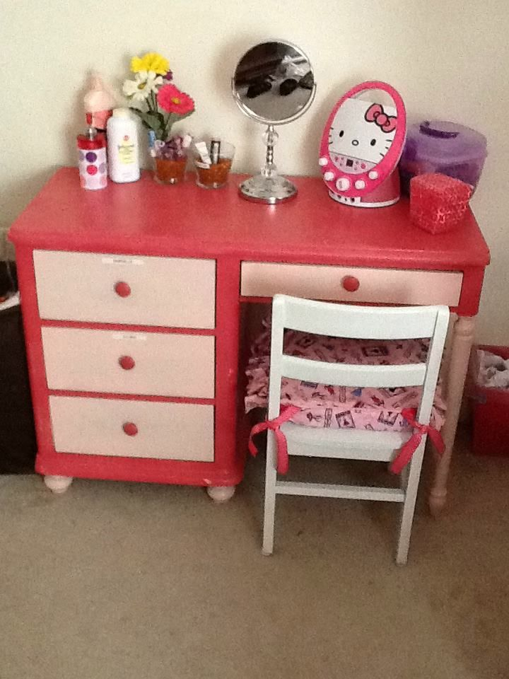 My Girl\'s Vanity Table. Repurposed the desk over a year ago (& was ...