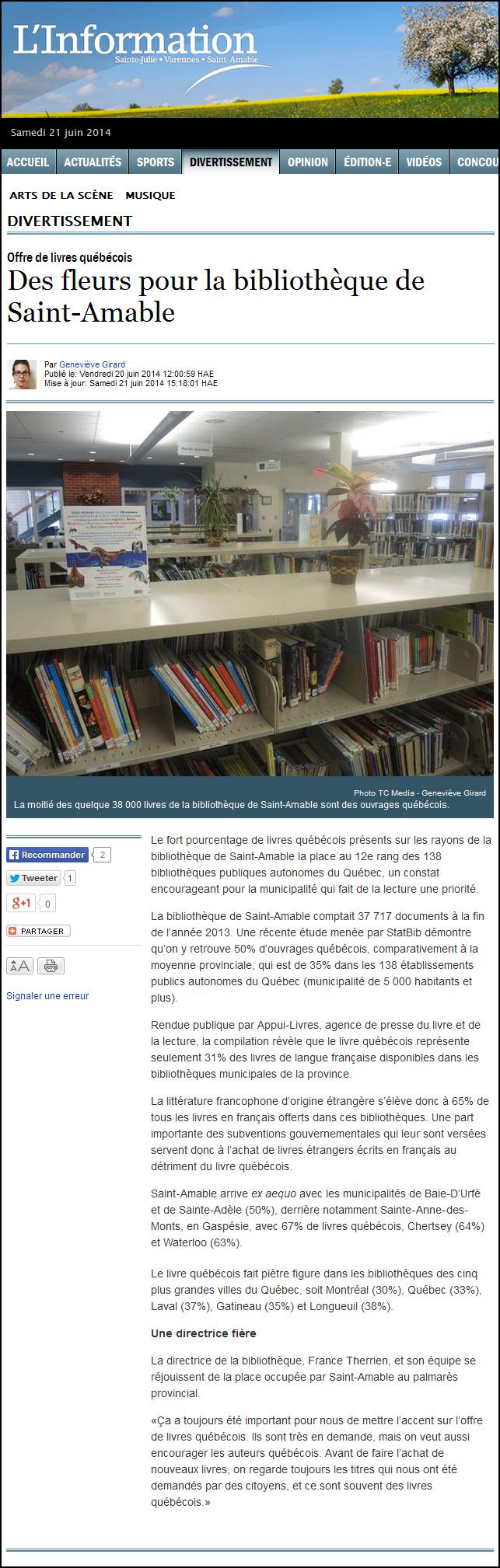 «Des fleurs pour la bibliothèque de Saint-Amable» par Geneviève Girard de l'hebdomadaire L'Information