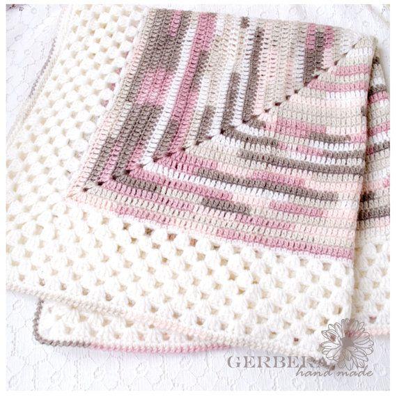 Crochet Baby Girl Blanket / Pastel Baby Afghan by GerberaHandmade ...