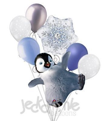 7 Pc Happy Feet Erik Dancing Balloon Bouquet Party Decoration Birthday Penguin