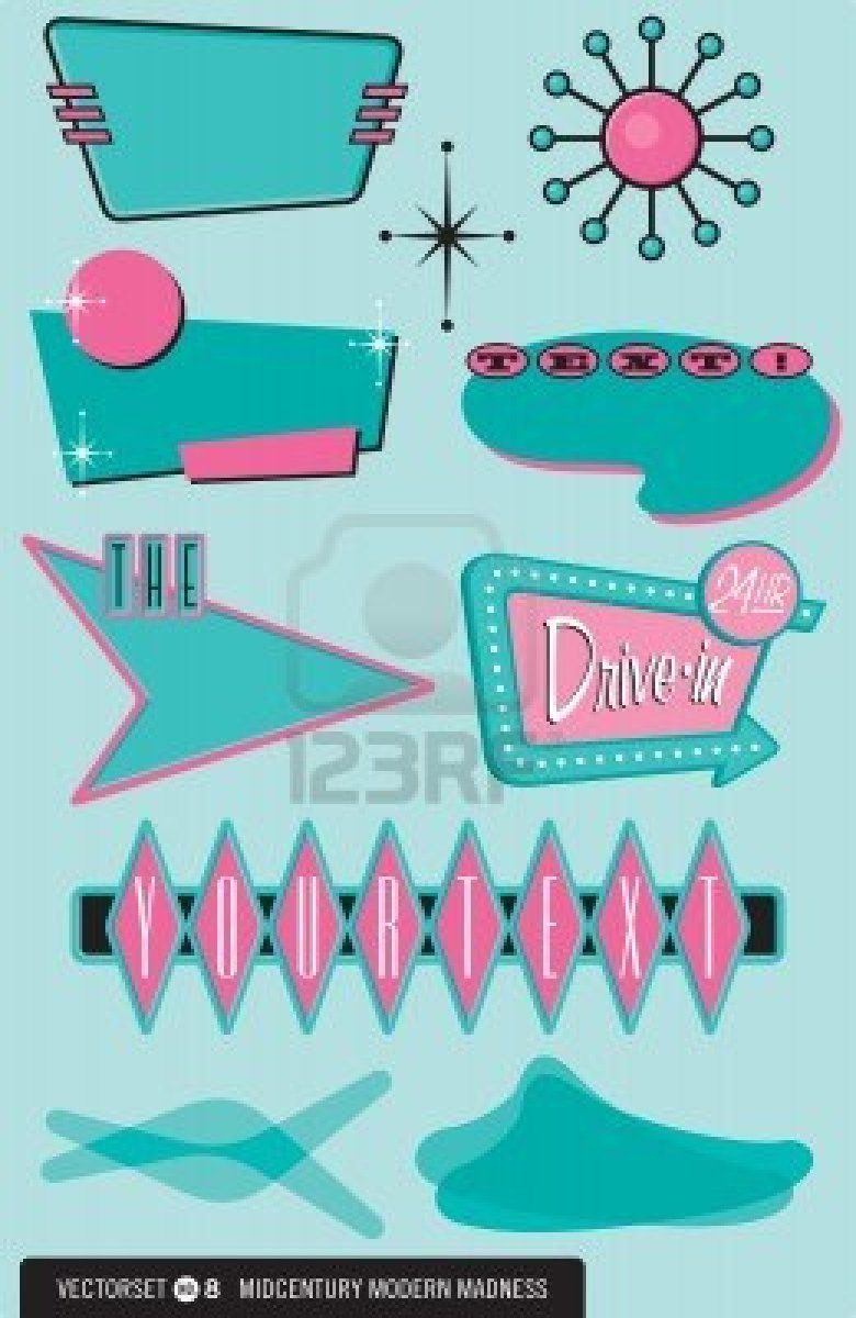 12489716 Set Of 10 Retro 1950s Style Design Elements For