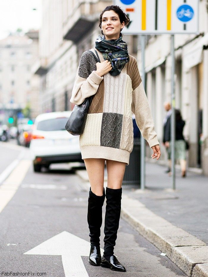 f37cce4c2f Colorful knit sweater dress for fall street style.  sweater  knitwear