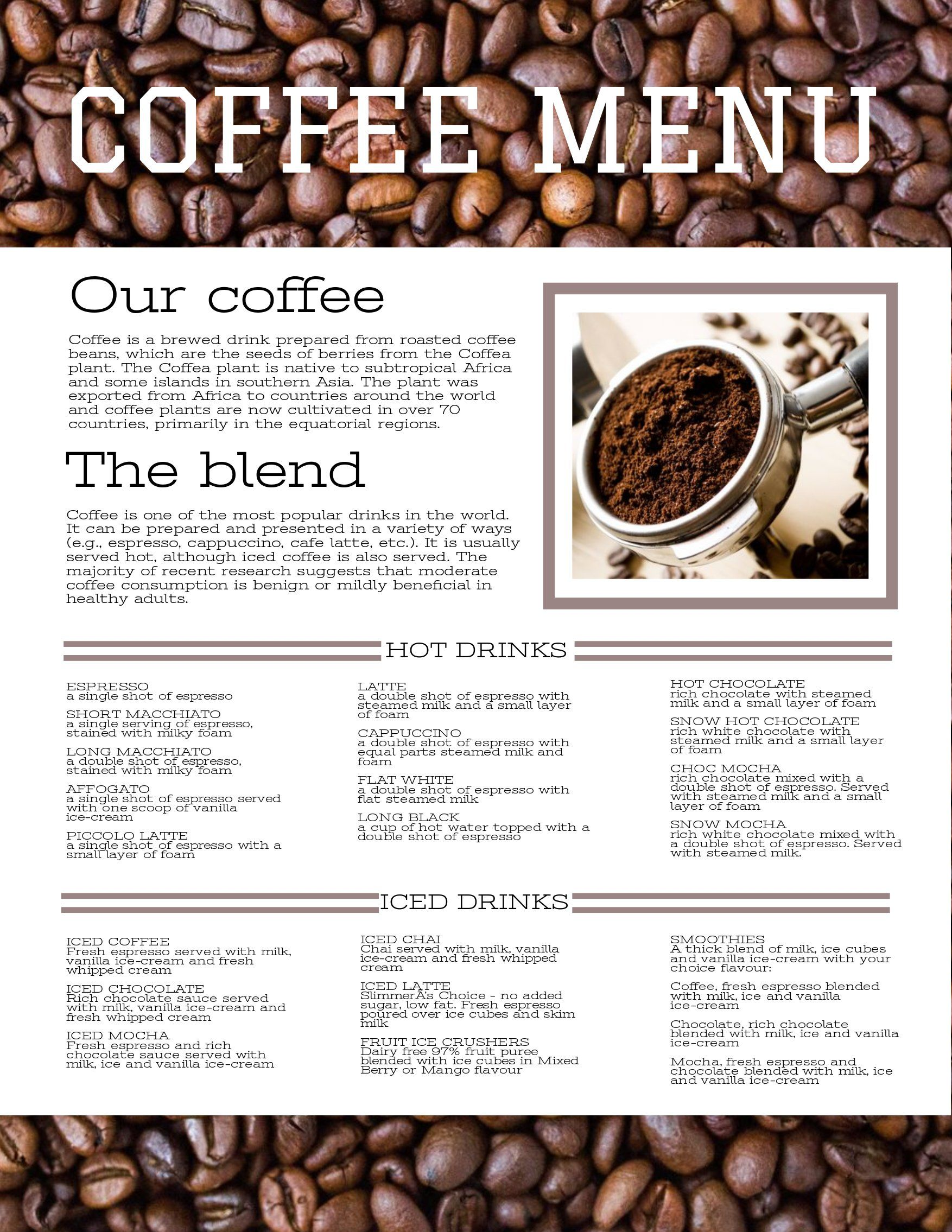 Pin By Eric Doss On Recipes Coffee Menu Menu Coffee Plant