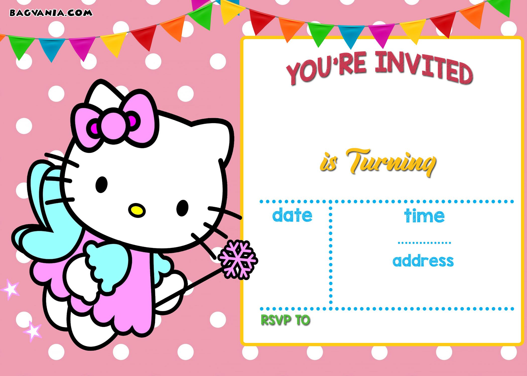 Awesome FREE Printable Hello Kitty Invitation Templates Theme - Free hello kitty birthday invitation templates