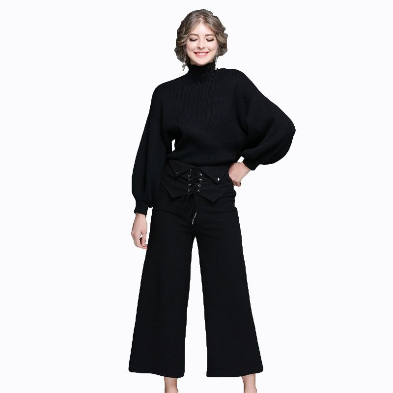 ccdef5dbec6bf 2017 New Autumn Winter Women s 2 Piece Pants Suit Set Long Sleeve Pullover  Sweater and Pants