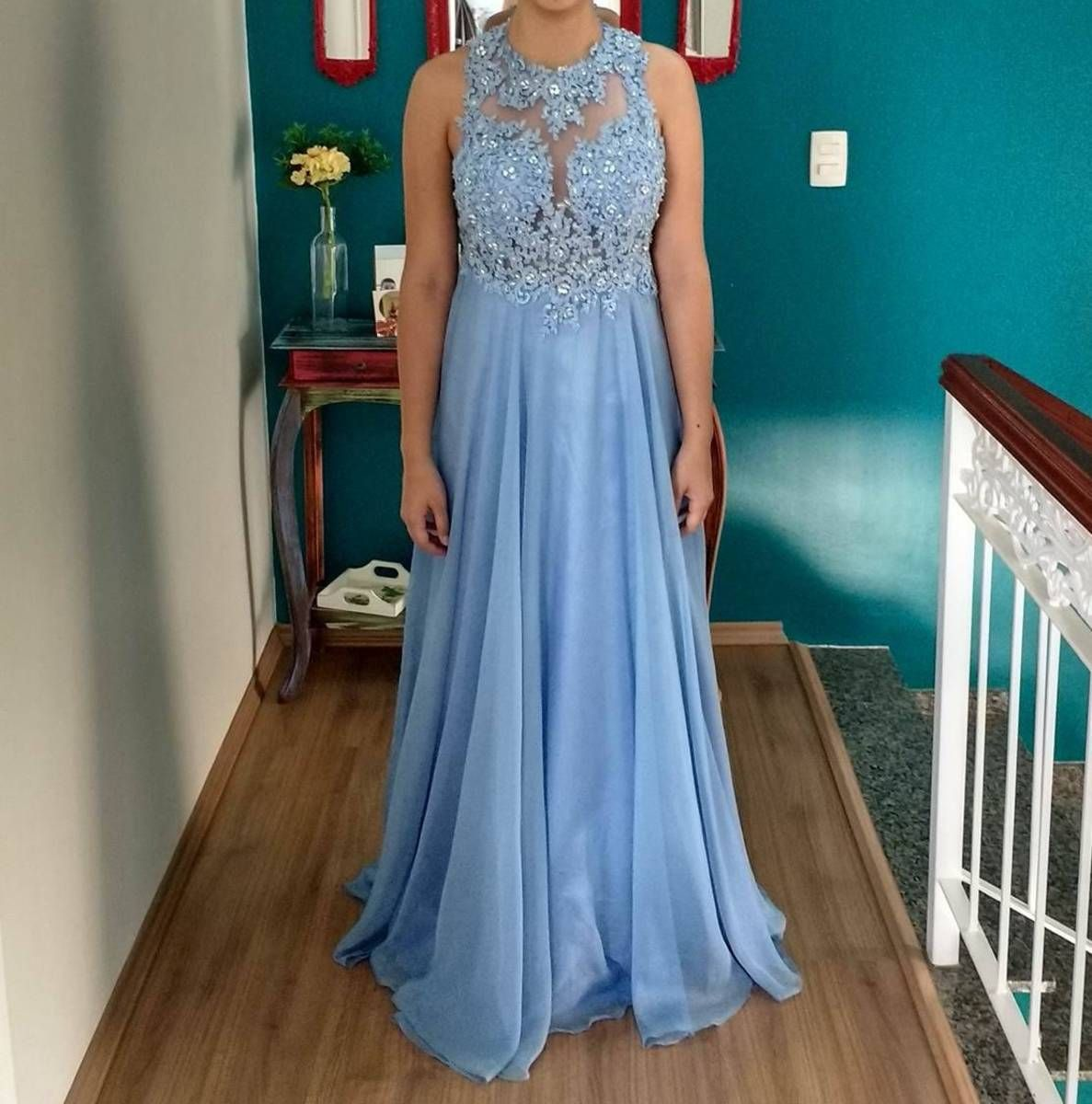 Blue Prom Dress with Illusion Lace Bodice | Evening & Prom Dresses ...