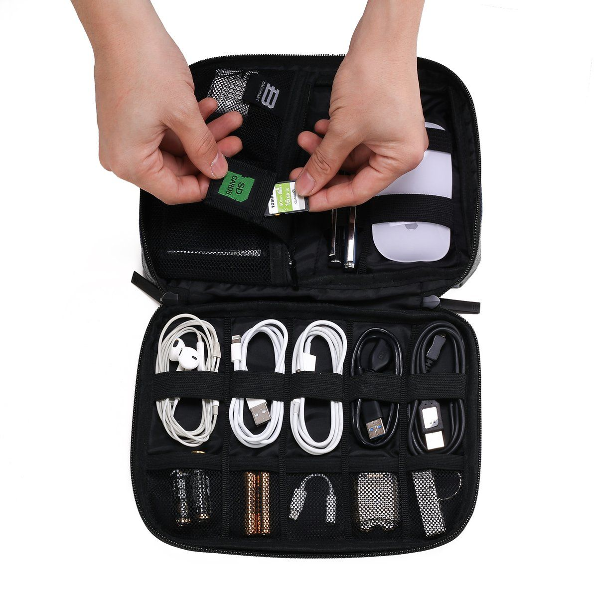 12dca1a41 Small Travel Electronics Cable Organizer Bag for Hard Drives