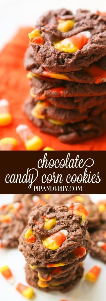 Chocolate Candy Corn Cookies Recipe - pipandebby.com