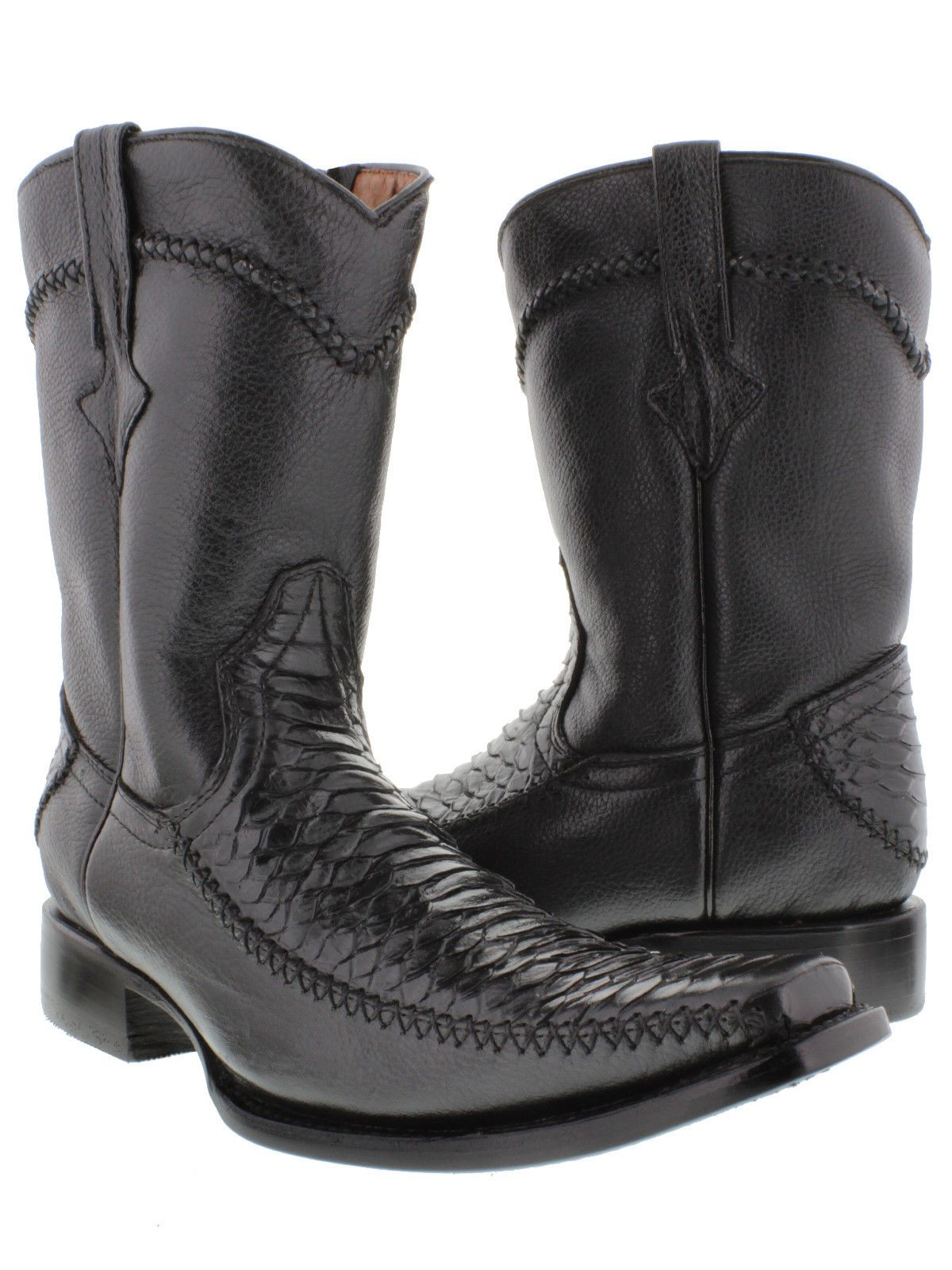 Dress black and white snake boots