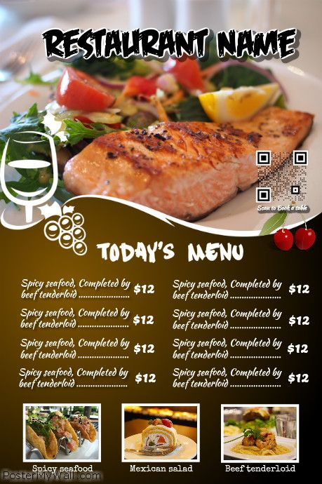 Restaurant menu flyer with a beautiful big image http://www ...