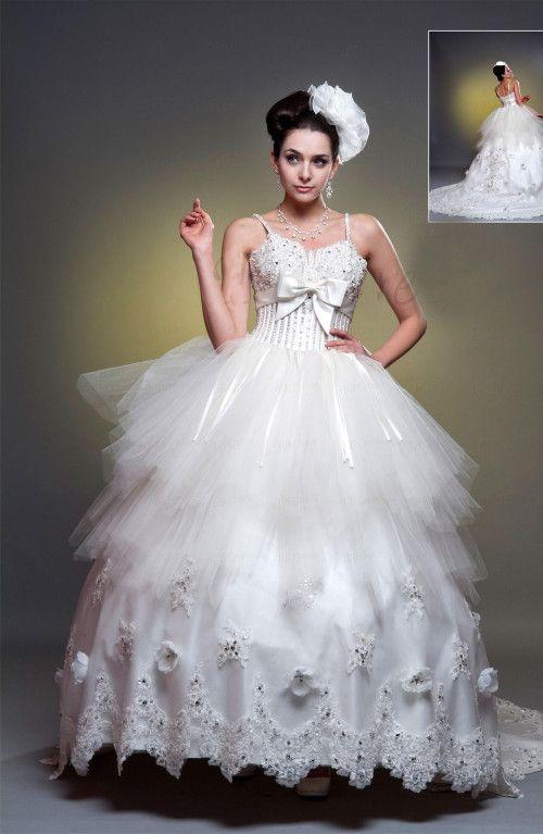 Ball Gown Spagetti Straps Chapel Train Wedding Dress #ShopSimple