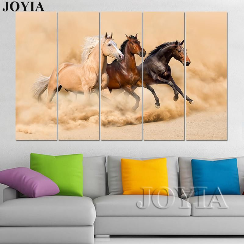 Large Wall Art Canvas Prints 3 Piece Horse Paintings Running Horses In Sands Pictures 4 5 Panel For Horse Painting Large Canvas Wall Art Wall Art Canvas Prints
