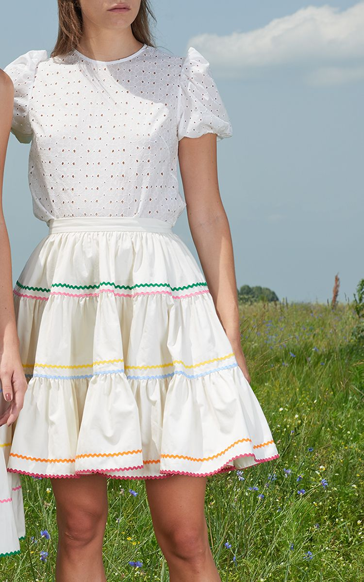 Embroidered Peasant Mini Skirt by ANNA OCTOBER Now Available on Moda Operandi