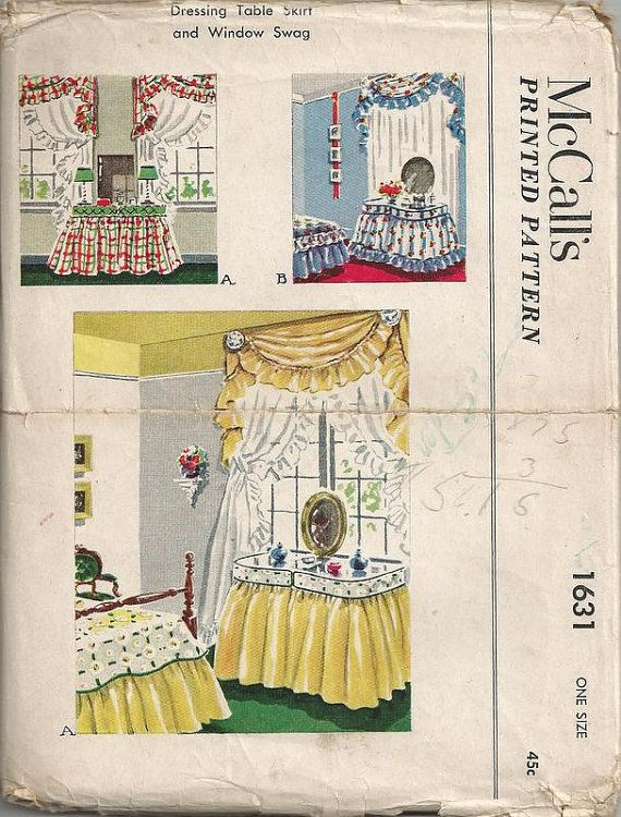 50s Dressing Table Skirt and Window Swag Vintage McCalls ...
