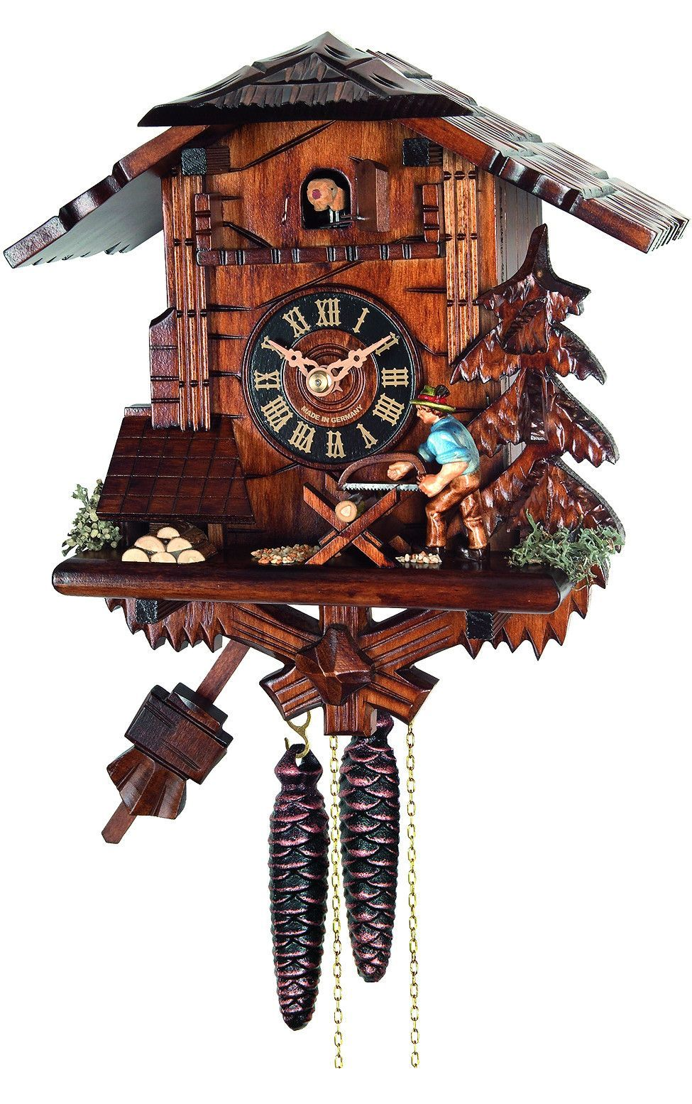 Unusual Cuckoo Clocks engstler chalet woodcutter weight-driven cuckoo clock 1-day 4358
