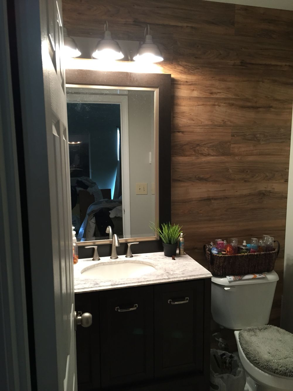 Laminate wood wall farmhouse lighting and new peel and - Laminate tiles for bathroom walls ...