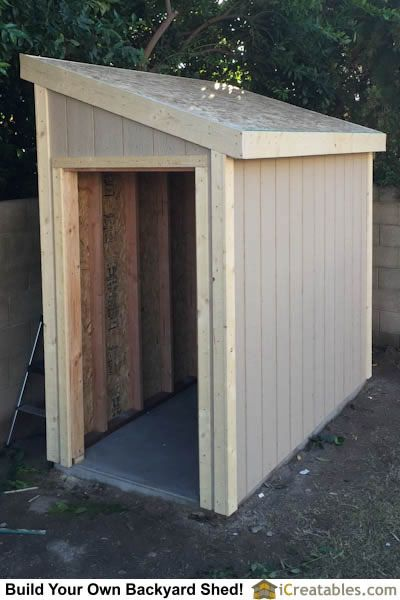Lean To shed plans with roof sheeting installed. The ...