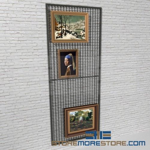 Wall Mounted Art Rack Wire Mesh Display Panels Hanging Artwork Display Racks Painting Storage Art Screen Steel Art Screen Painting Screens Wall Mo Hanging Artwork Art Display Panels Artwork Display
