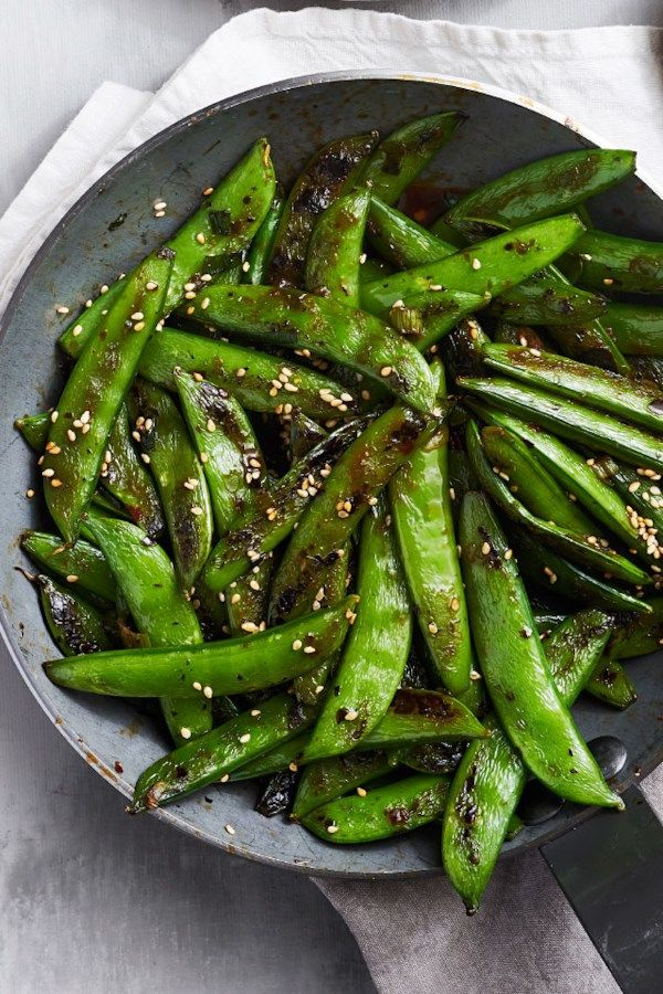 Charred Sugar Snap Peas with Sesame-Chili Sauce images