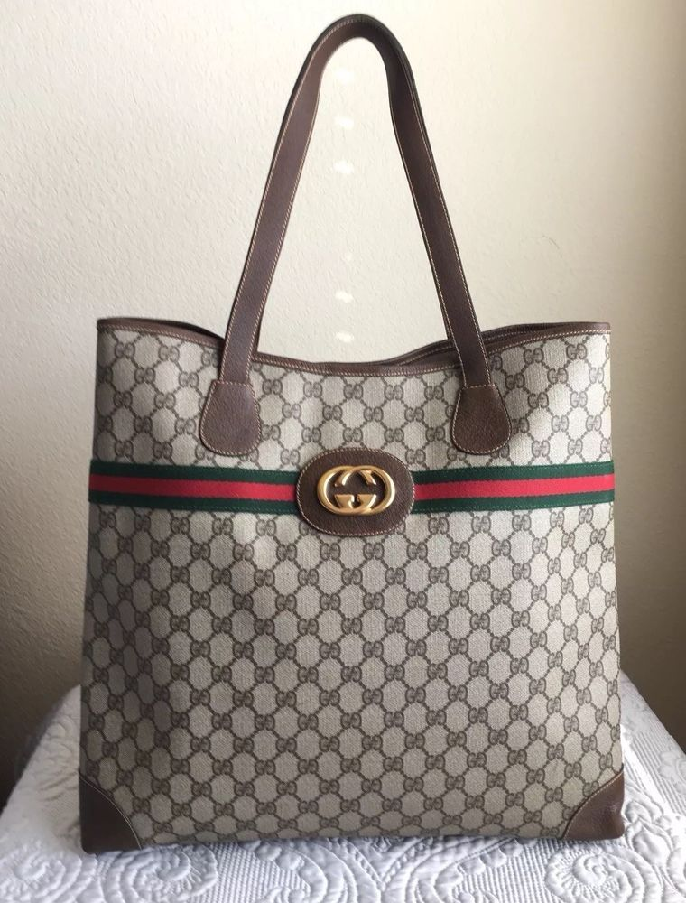 481a82859e2c Gucci Vintage GG Supreme Monogram Tote Bag | Gucci vintage handbags ...