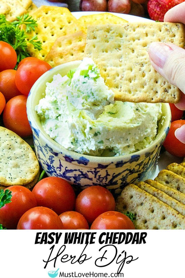 Easy White Cheddar Herb Dip Make this full of flavor White Cheddar Herb Dip, with cheddar cheese, cream cheese, green onions and seasonings in only 5 minutes!