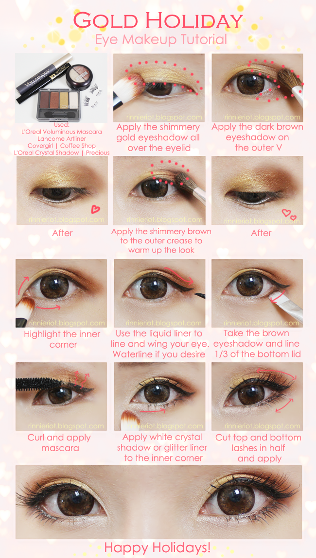 Rinnieriot Gold Holiday Makeup Tutorial Holiday Eye Makeup Ulzzang Makeup Eye Makeup