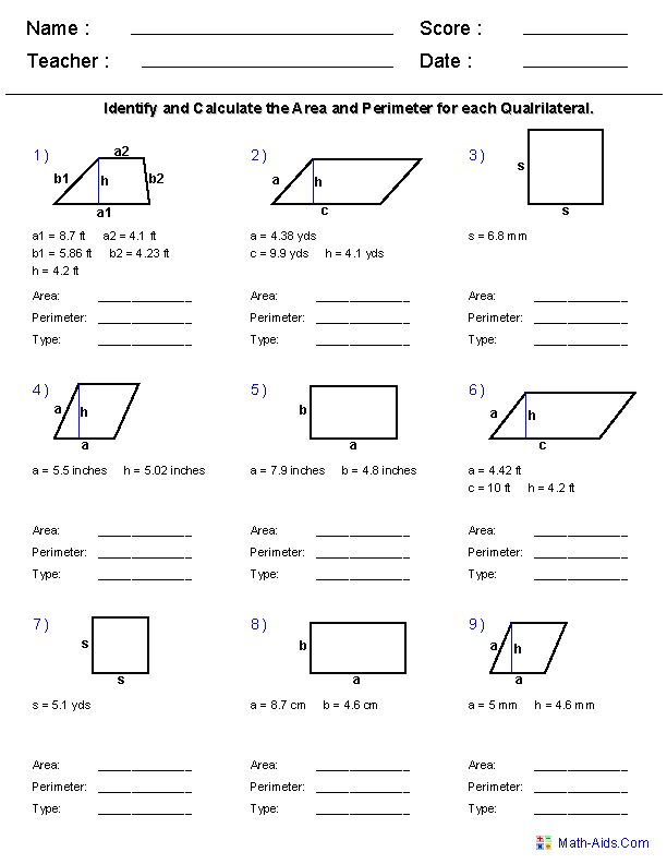 6th Grade Math Worksheets Area And Perimeter Geometry Worksheets Area And Perimeter Worksheets Perimeter Worksheets