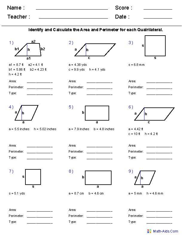 6th Grade Math Worksheets Area And Perimeter Geometry Worksheets Area And Perimeter Worksheets Perimeter Worksheets