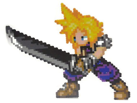Cloud Strife inspiré de Final Fantasy VII Pixel Art