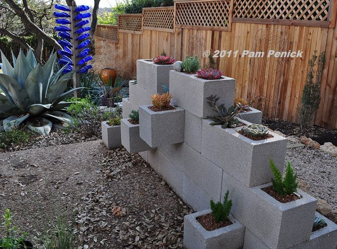 Potted S Diy Cinderblock Wall Potted Cinder Block Garden Succulent Wall Planter Plants