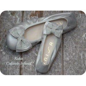 Zapatos niña chica Bailarina plata Unisa Calzado infantil