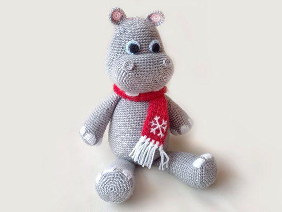SALE Christmas Crochet Hippo PATTERNS, Hippopotamus Crochet