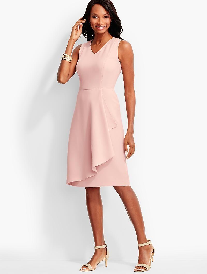 Refined Crepe Side-Drape Sheath Dress - Talbots   My Style   Pinterest