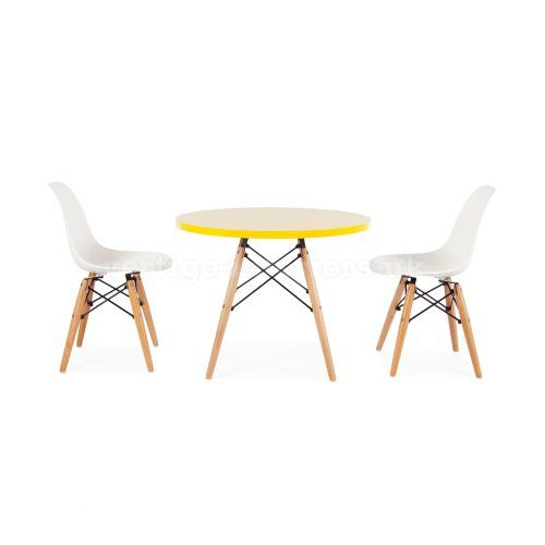 Eames Style Kids Round Yellow Table 2 Kids Dsw Chairs White