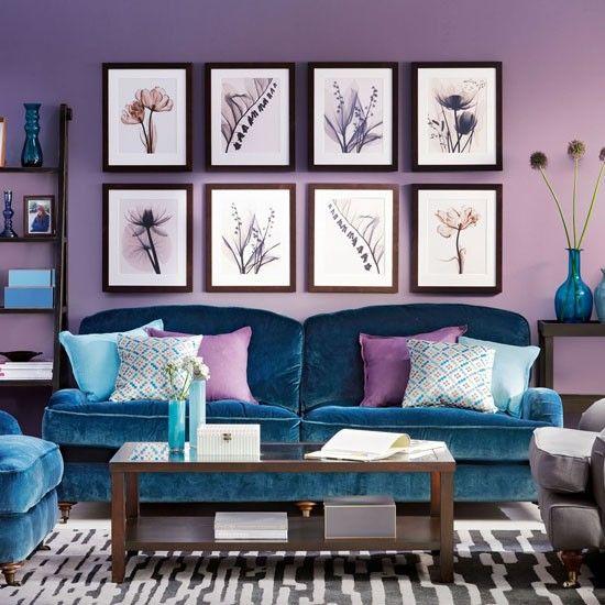 Lila Wand. Kombiniert mit blauen Polstern. | Wohnideen in Lila ...
