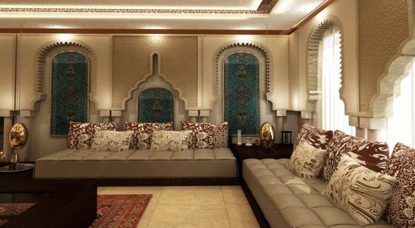The elaborate archways in this room defy categorization for Moroccan living room ideas