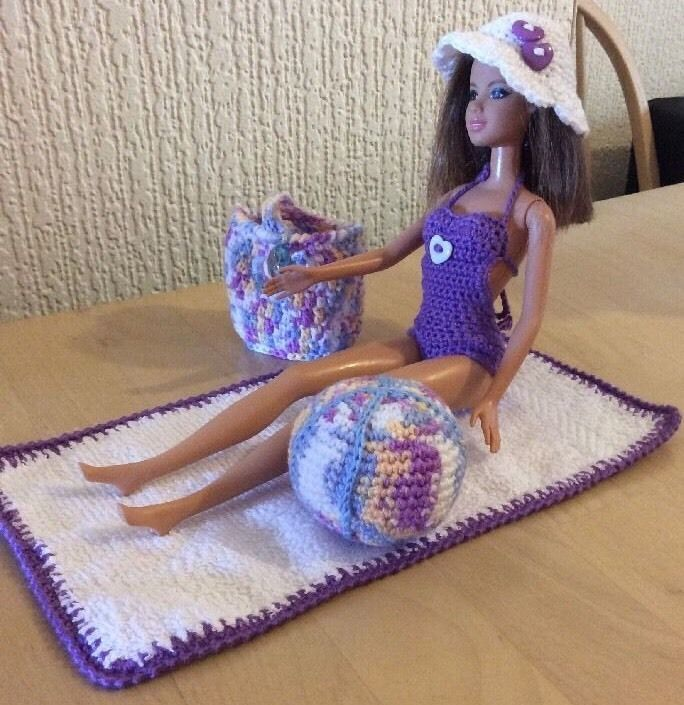 Barbie Clothes 6 Pce Beach Crochet Outfit Handmade *New* Costume ...